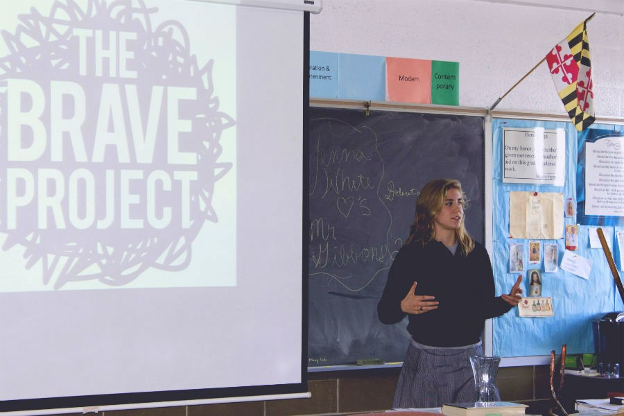 Senior+Jen+Linsenmeyer+explains+her+%22Brave+Project%22+to+religion+teacher+Jonathan+Gibbons%27+class+on+Jan.+16.+Linsenmeyer+visited+all+senior%2C+junior%2C+and+sophomore+classes%2C+as+well+as+three+sections+of+freshmen.
