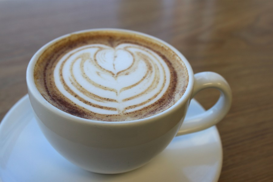 At the Fox and Fern café located in Forest Hill, this Pumpkin Spice Latte can be purchased throughout the fall season. The beverage is embellished with a decorative leaf created with foam.