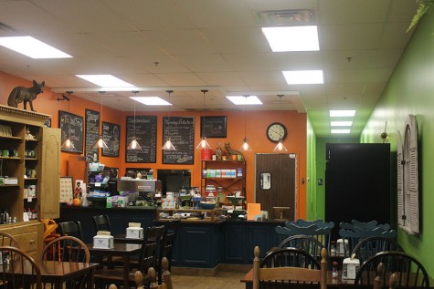 Fox and Fern Cafe is on Rock Spring Road in Forest Hill. The cafe has a chill vibe to it, and it is decorated warmly with wooden tables and orange and green walls.