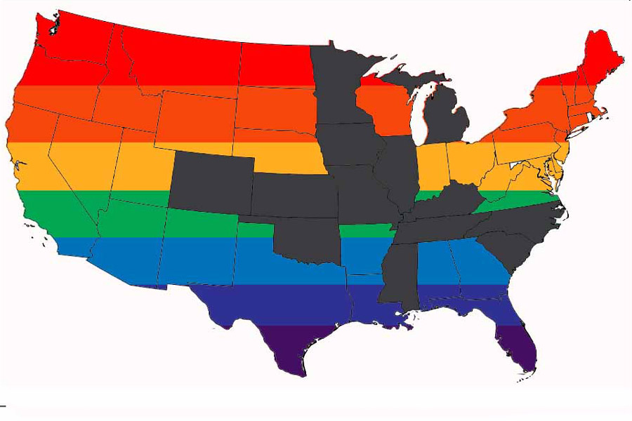 """Across the U.S., 13 states, indicated above by gray, have enacted laws similar to the ones in Mississippi and North Carolina. Nine states have passed """"Bathroom Bills"""" that require individuals to use the bathroom of the sex they were born as, while seven states have """"religious freedom protection acts"""" that allow individuals to refuse service and employment based on their belief or conduct."""