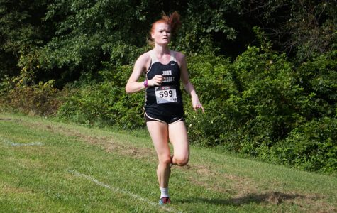 Cross country runner strides by competition