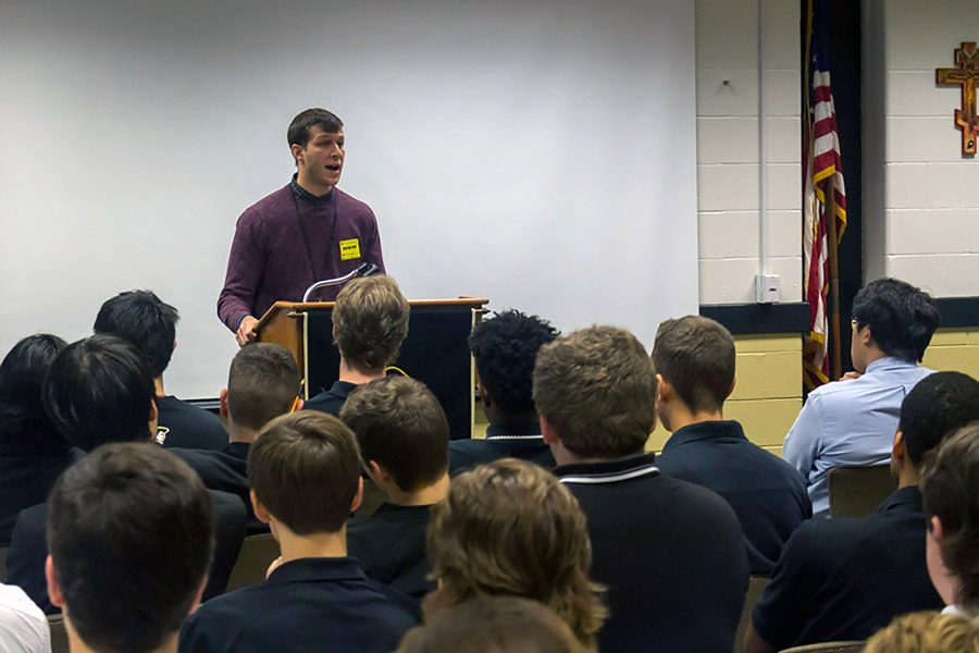 Peer+Recovering+Specialist+Shawn+speaks+to+the+senior+boys+during+the+community+drug+assembly+on+Thursday%2C+Oct%2C+27.+Several+speakers+shared+their+stories+of+battling+addiction+with+all+grade+levels+throughout+the+school+during+the+assembly.+