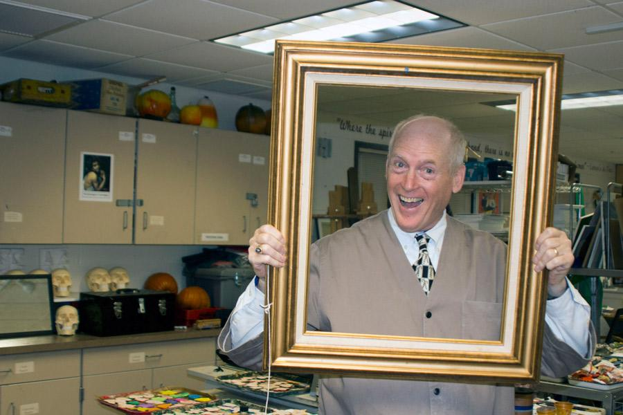 In his usual creative style, Fine Arts teacher Michael Gaudreau, class of '70, poses for a fun picture. After teaching at JC for 43 years, Gaudreau knows how to put a put a smile on anyone's face.