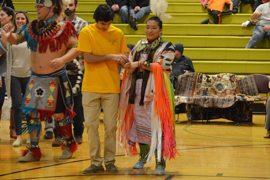 Senior Kyle Baldauf, a member of the Anthropology course, participates in the unique Native American culture by dancing in the Morning Star Powwow on Jan. 14. Cultural experiences like this one should be more frequent within the community in order to create a deeper understanding and acceptance of different lifestyles.