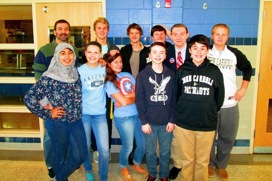 Members of the Academic Team posed for a picture during a day tournament at Bel Air High School. The Academic Team has had a successful season so far, making it to the second round of the It's Academic competition and having a 5-1 record in the Catholic League.