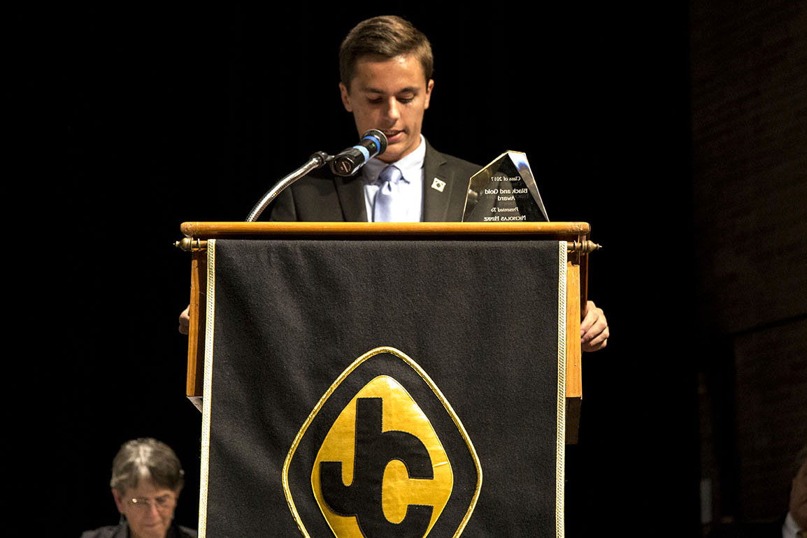 Senior+Nick+Hinke+gives+his+acceptance+speech+as+the+male+recipient+of+the+Black+and+Gold+Award.+Both+Hinke+and+senior+Caroline+Cooney+received+the+award+on+Wednesday%2C+May+24.
