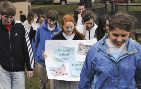 Students walk barefoot to raise awareness