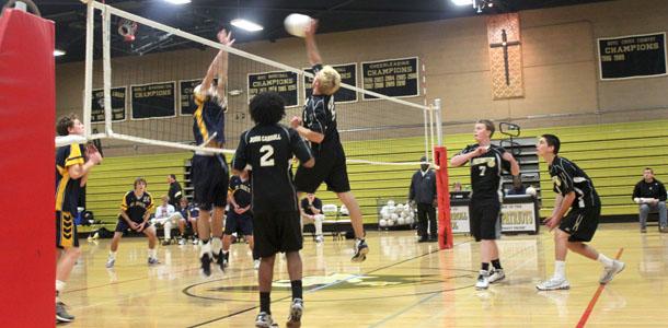 St. Pauls defeats mens varsity volleyball