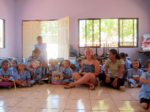 Senior Katie Sebour visits the nutrition center Cen Cartagena Santa Cruz in Costa Rica during spring break. For Sebour's Senior Project, she donated her time, numerous toys, and $5,000 to help the center.