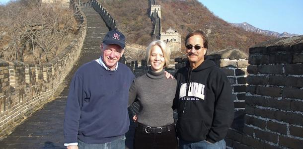 From left to right, William Porter, Coordinator of International Student Programs Sandi Seiler, and President Richard O'Hara visit the Great Wall of China. O'Hara and Seiler traveled to China for 11 days to strengthen current and potential Chinese relationships.