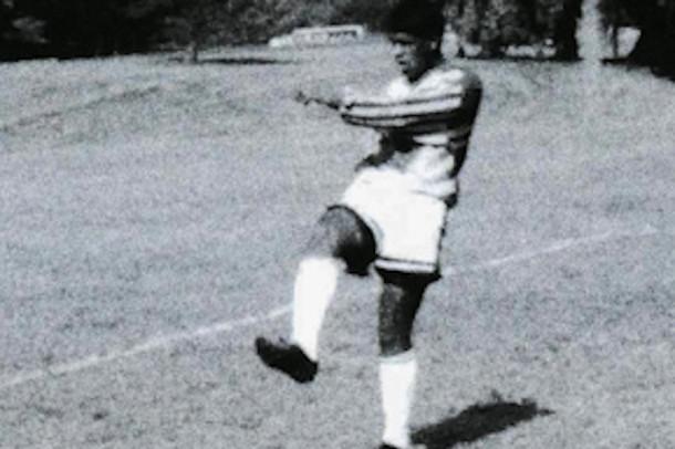 Associate Director of Enrollment Ed Maynard takes a free kick while on the 1992 JC Varsity soccer team. Maynard was a goalie on the team.