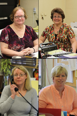 Some of JC's important personnel include Nancy Moxey (top left), Diane Brown (top right), Dawn Teel (bottom left), and Sue Cathell (bottom right).