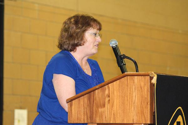 English teacher Susan Fisher makes a speech after receiving the Teacher of the Year award. In her speech, Fisher reflects on her many years of teaching at JC and comments on how much she will miss living vicariously through her students as she enters into retirement.