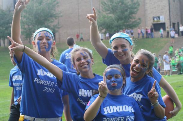 Juniors Lauren Ey, Emory Gaeng, Makenzie Hentz, Jen Lisenmeyer, and Brigitte Lutche get ready for Powder puff. Juniors and Seniors showed their class pride by cheering on their team.