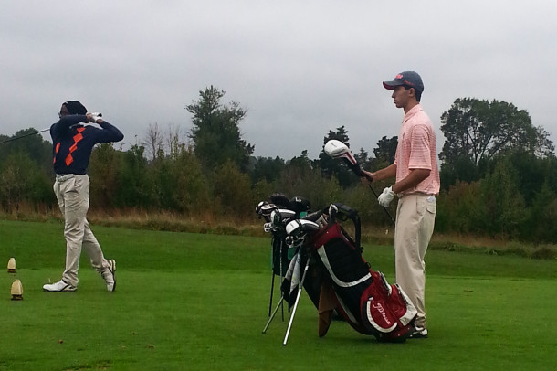 Sophomore Taylor Mezzatesta selects a club as he prepares to tee off. Mezzatesta won the Junior Tour of Maryland over the summer.