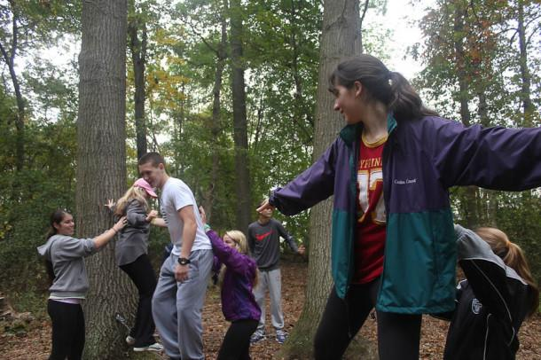 Senior Amanda Reid balances on a rope during an activity at Genesee Valley. This was the first year for the Genesee Valley trip.