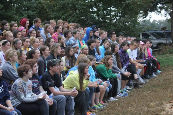 Seniors anticipate the day ahead at Genesee Valley Outdoor Learning Center. Despite the uncooperative weather seniors were eager to get started.