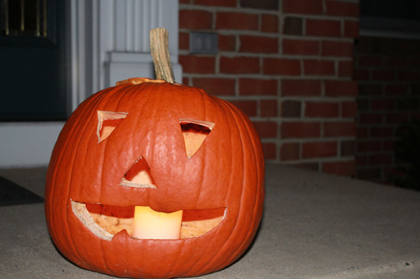 A Jack O'Lantern is a traditional Halloween decoration. The carving of a pumpkin originated from an old Irish legend.