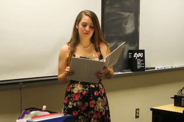 Senior Casey Reil reads her Declamation piece titled