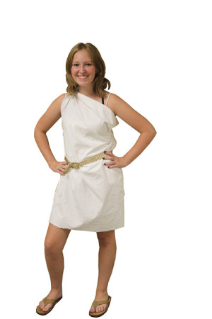 Junior Camille Smith dresses up in toga.