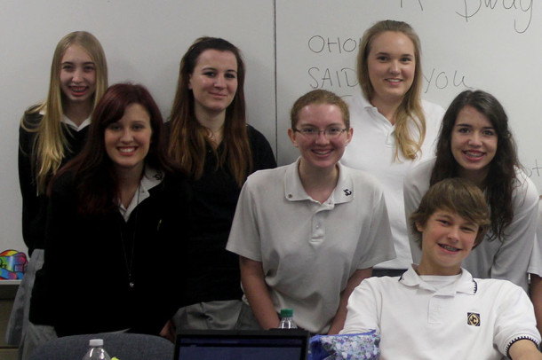 Junior Gloria Sedney (third from left) with students from her junior AP English class.