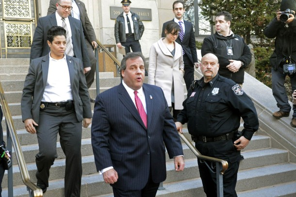 New Jersey Gov. Chris Christie leaves Fort Lee, N.J.s city hall after apologizing to Mayor Mark Sokolich on Thursday, Jan. 9, 2014. (Viorel Florescu/The Record/MCT)