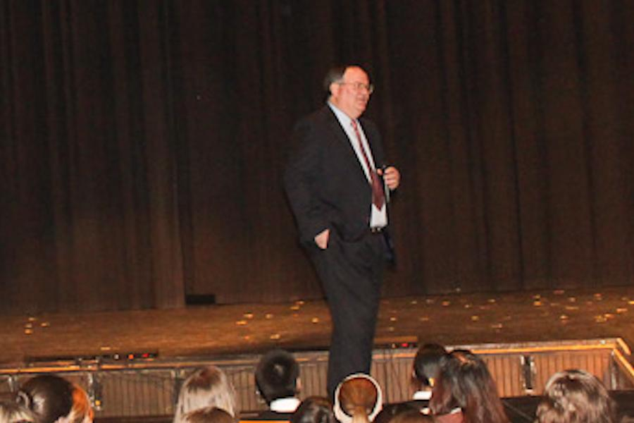 Athletic+Director+Larry+Dukes+gives+a+presentation+to+JC+seniors+about+finance.+Dukes+worked+in+the+finance+world+before+coming+to+JC.