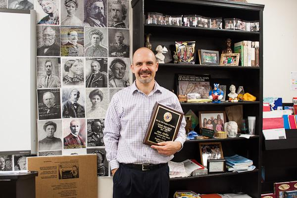 Social studies teacher Jake Hollin won Catholic High School Teacher of the Year from The Knights of Columbus of Bel Air. While he was named Teacher of the Year on Feb. 28., he was presented the award on March 18 at a formal ceremony.