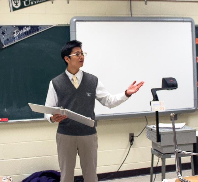 Sophomore Daniel Kim performs at the Speech and Debate meet held at Havre de Grace High School on Feb. 28, 2014. Kim was entered in Declamation, in which students perform a speech of their choosing.
