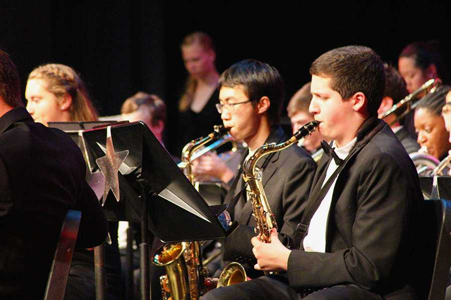 Junior Will Smith plays his saxophone at the Memorial Day Concert. The concert, taking place on May 22, was the first JC Memorial Day Concert.