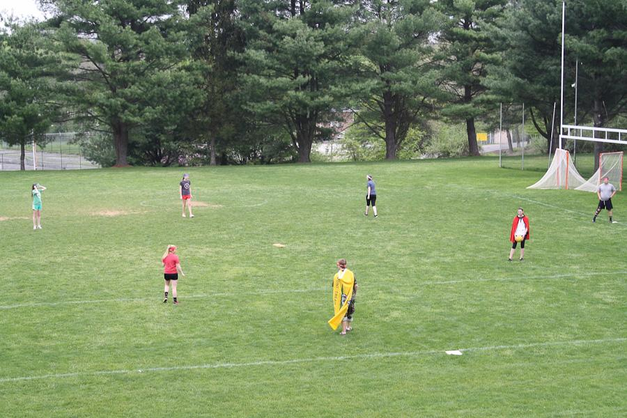 Opposing teams prepare to play flag football. Various areas of the property were devoted to different games the seniors could play.