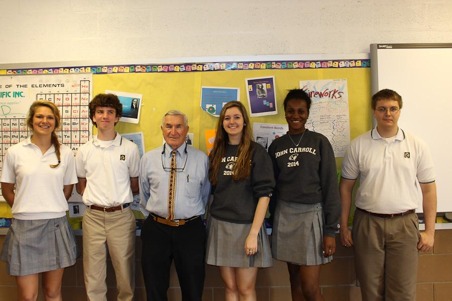 Seniors Haley Kyger, William Hopkins, Caitlin Campell , Brianna George, and Austin Schap stand with Russian teacher Ed Miller. These five students were in the last Russian class at JC.