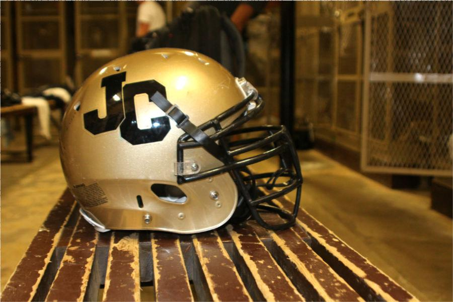 The+%22JC%22+decals+were+placed+on+the+football+helmets+Aug.+23.+On+Sept.+19%2C+before+the+football+game+against+Calvert+Hall%2C+the+decals+were+removed+by+alumni+request.+