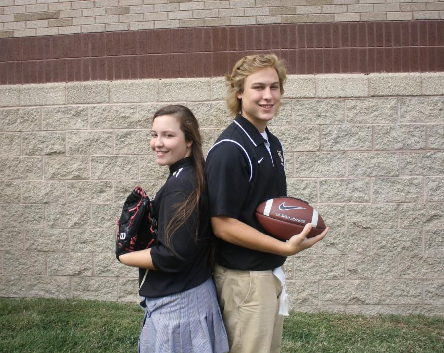 Senior Sean and Amanda Nastalski stand back to back representing the sport that they play. Although twins, Amanda and Sean are different in most aspects of their life.