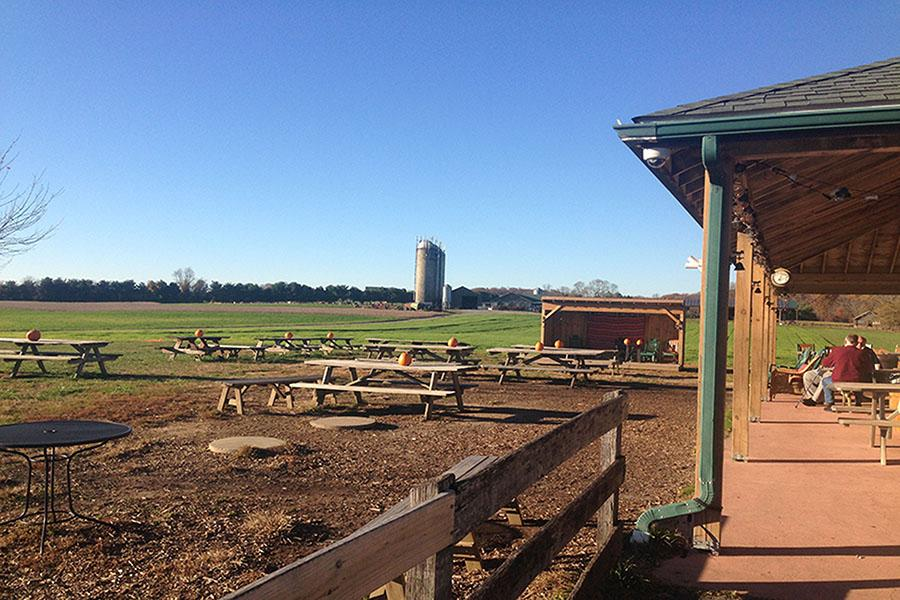 The outside of Broom's Bloom Dairy looks out on an extensive farm. Brooms Broom is located at 1700 S Fountain Green Rd, Bel Air, MD 21015.