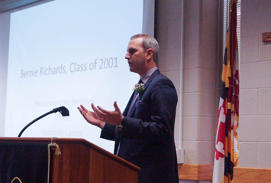 Bernie Richards class of '11 shares his personal and recent experience with cancer. Richards and other guest speakers came to the school on Nov. 6 to talk about  and inform students of cancer.