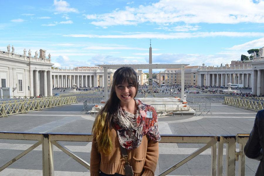 Madison Meyer, class of 14, poses in front of the Vatican in Rome. Meyer has been traveling Europe for the past 3-4 months through an agency called Workaway.