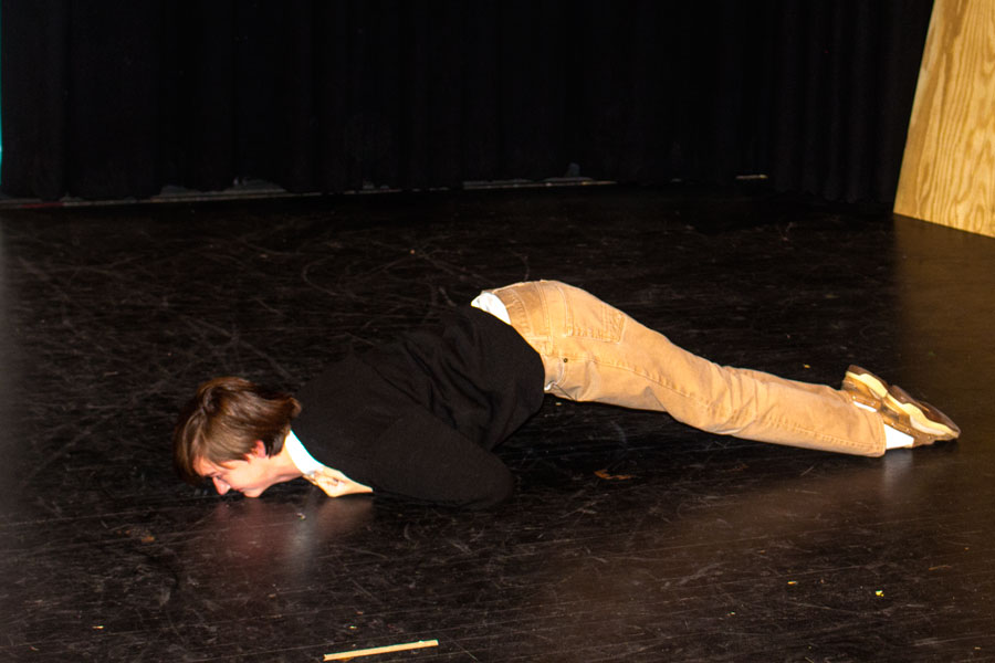 A&E Editor Nick Miller scoots across the stage. His dramatic portrayal of an inchworm during the production