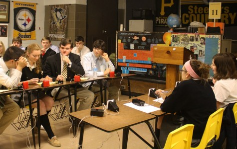 The Academic Team plays Mount de Sales in a match on Dec. 9. They beat Mount de Sales 37-19 and Loyola-Blakefield 29-27.