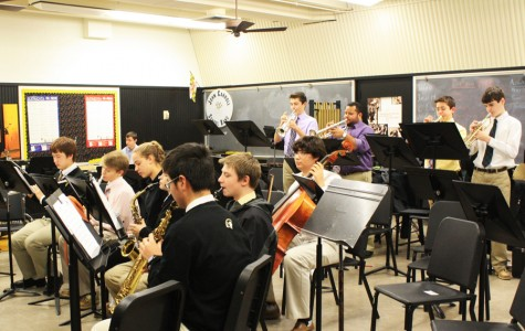 The Jazz Band practices for their performance with the Bel Air Community. The two ensembles will play at the Cool Jazz fundraiser on Feb. 7.