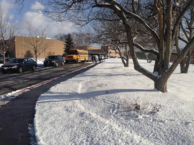 Students and faculty enter school two hours late due to weather conditions. School was canceled on Jan. 6 and delayed two hours on Jan. 7 and 8 because of snow and freezing temperatures.
