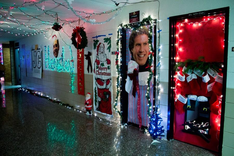 The face of actor Will Ferrell displays on Guidance Counselor Larry Hensley's door. During the Christmas season, students worked together to decorate the halls.