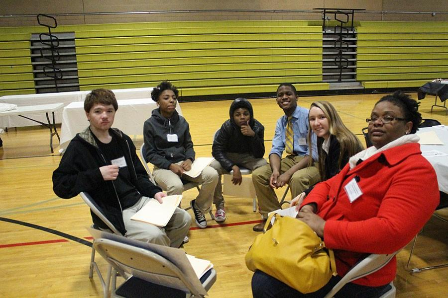 Students from the 16 different schools intermixed to form small groups in the workshop Lives Lost, Lives Found during the Lessons of the Shoah event. Feb. 5. students participated in various workshops and listened to guest speakers who survived the Holocaust.
