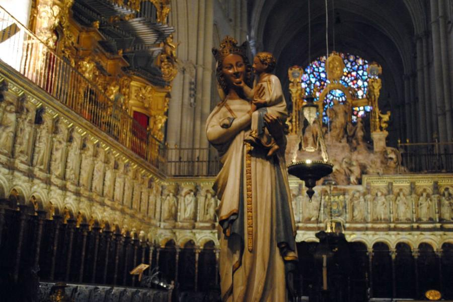 This sculpture, called The Smiling Virgin was a gift to Spain from France. It is historically important because it is the first image where Mary is seen laughing with Jesus.