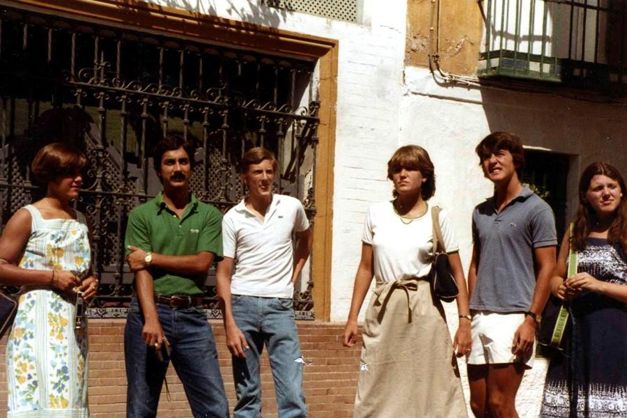 President Richard O'Hara (second from the left) stands with a group of students on a trip to Spain in 1981. O'Hara taught all levels of Spanish before moving into administration.