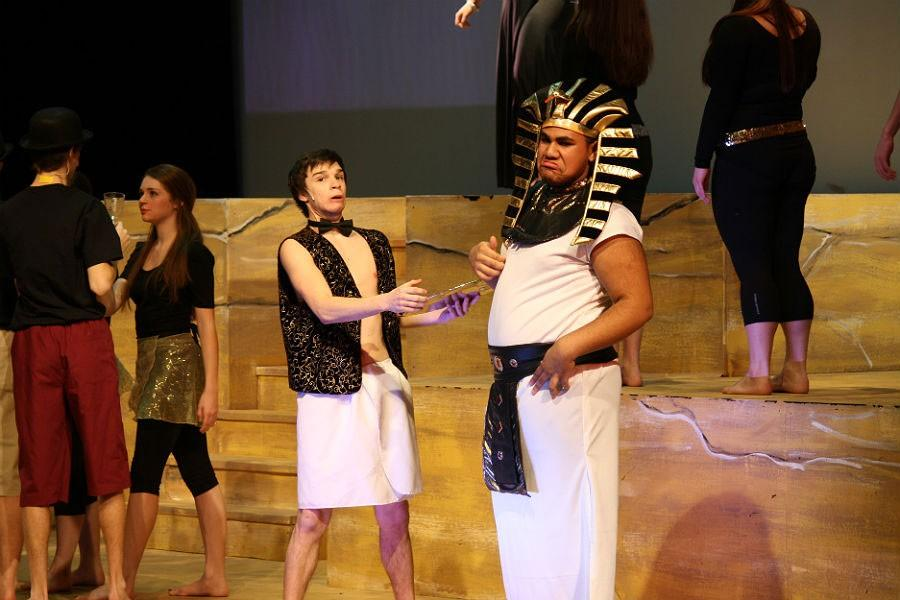 Joseph, the Israelite brother portrayed by senior Brady Fritz, accepts a job under Potiphar, a high-ranking Egyptian portrayed by junior Gabe Webster. Due to snow days, the March 5 and 6 matinees of
