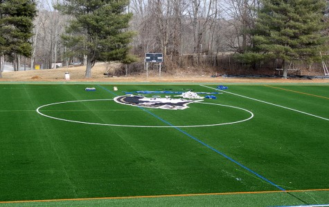 The Patriot logo is placed onto Field 2, the women's field. Director of Facilities Stewart Walker predicts the fields should be finished by the end of spring break.