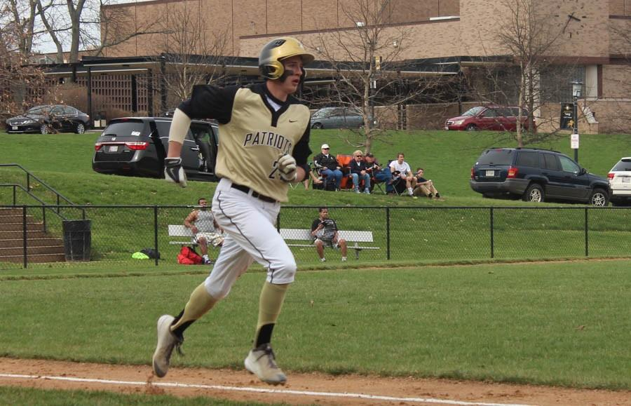 Senior+Luke+Schaffer+runs+towards+first+base+during+a+baseball+game+against+St.+Paul%27s+high+school.+JC+lost+the+game+8-18+on+April+15.