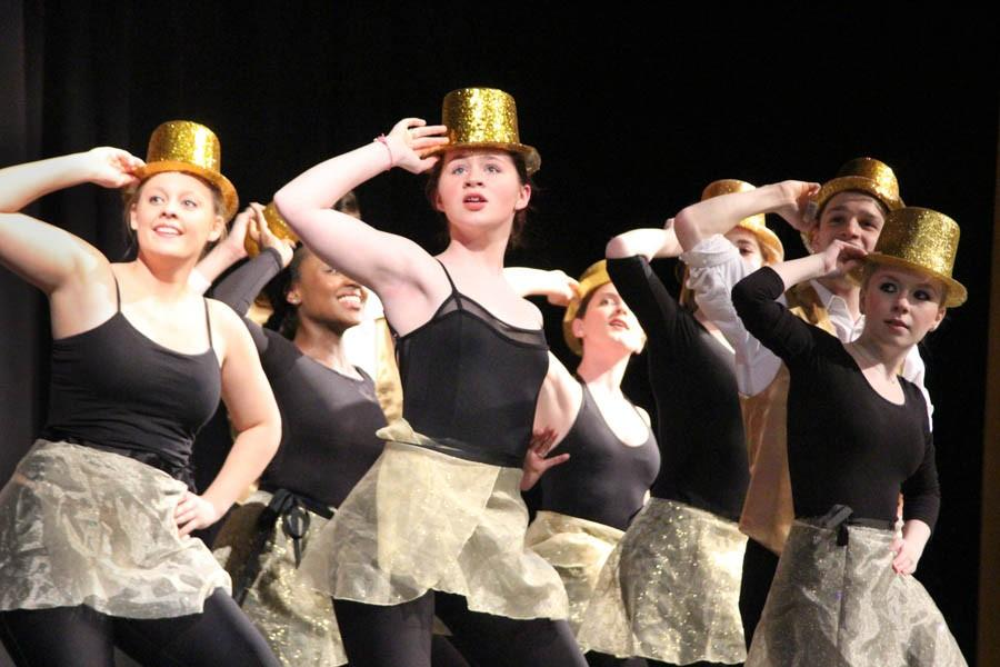 Junior Mary Greig, Sophomore Olivia Lang, junior Lily Stannard, Senior Brady Fritz, and senior Marissa Fletcher dance to One from the Broadway music A Chorus Line. Those taking the musical theater dance class performed 3 styles of choreography during the spring concert.