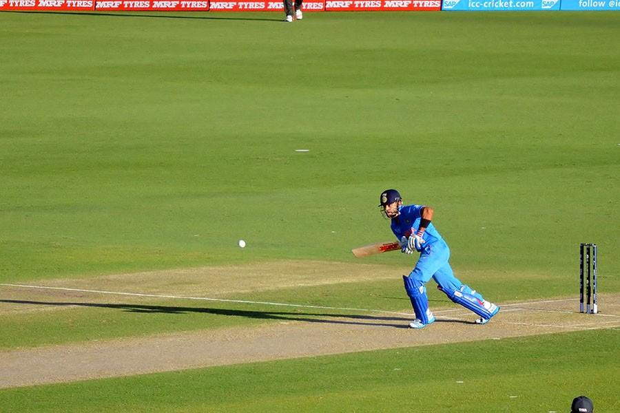 Virat Kohli batting for India, on his way to leading India to a win, against United Arab Emirates during their 2015 Cricket World Cup match at the WACA Ground in Perth, Australia. The hosting nation, Australia, beat India in the semifinal round.